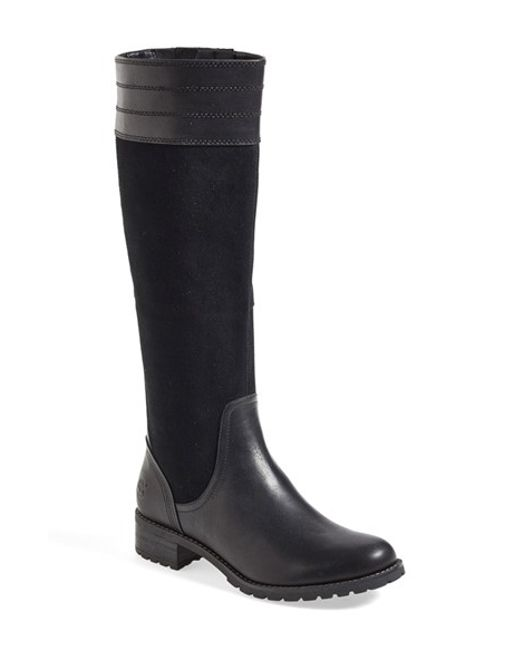 timberland bethal heights leather knee high boots in black