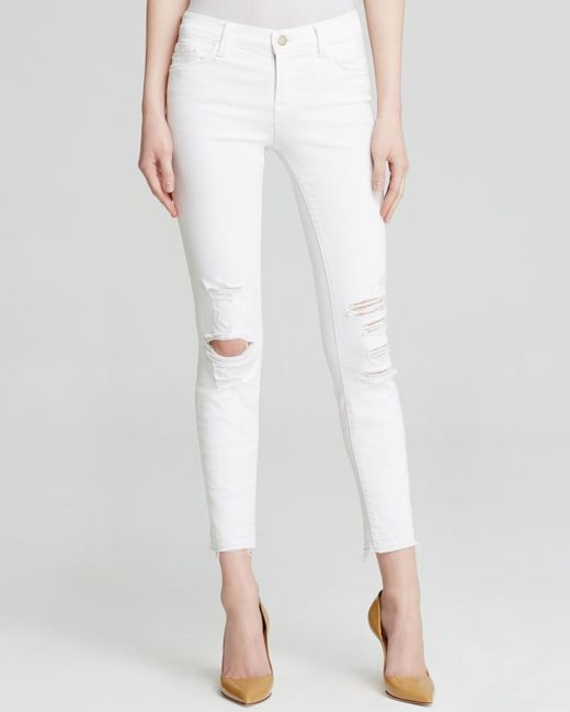 J Brand   White Jeans - Low Rise Ankle Skinny In Demented   Lyst