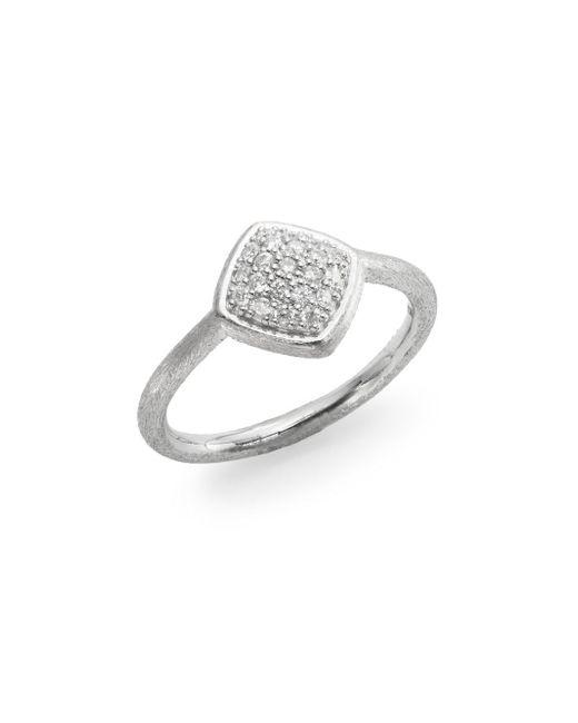Jude Frances   Metallic Soho Diamond & Sterling Silver Pavé Cushion Ring   Lyst