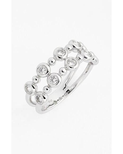 Bony Levy | Metallic 'amara' Two-row Bezel Diamond Ring (nordstrom Exclusive) | Lyst