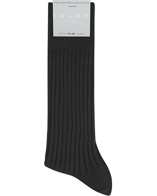Falke   Black Ribbed Egyptian Piuma Cotton Socks for Men   Lyst