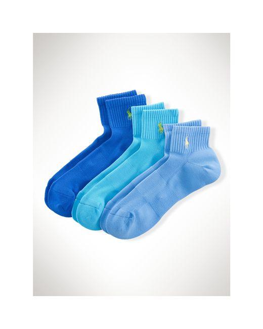 Polo Ralph Lauren   Blue Quarter Sport Sock 3-pack for Men   Lyst