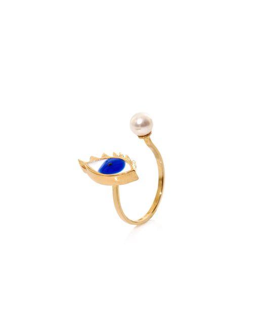 Delfina Delettrez | Multicolor Gold, Pearl & Enamel Eye Ring | Lyst