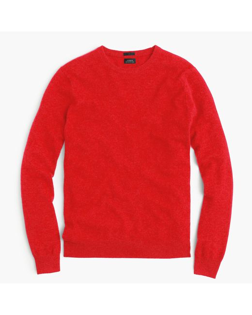 J.Crew | Red Slim Italian Cashmere Crewneck Sweater for Men | Lyst