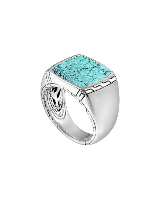 John Hardy | Blue Silver & Turquoise Signet Ring | Lyst