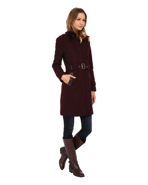 Cole Haan | Purple Zip Front Stand Collar Coat | Lyst