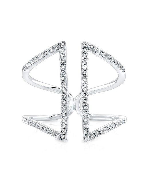 Anne Sisteron | 14kt White Gold Diamond Double Bar Angled Ring | Lyst