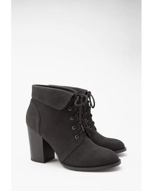 Forever 21 | Black Lace-up Booties | Lyst