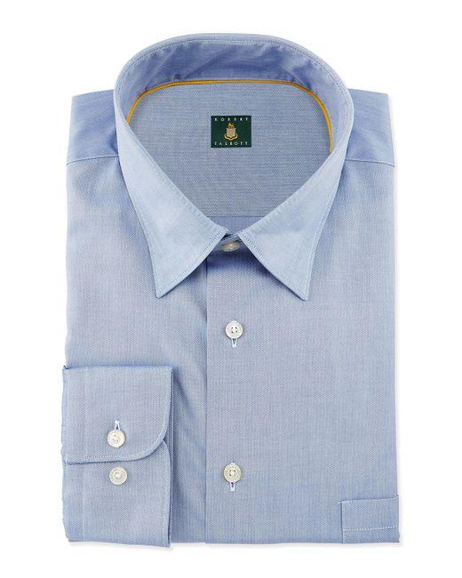 Robert talbott solid woven dress shirt in blue for men for Robert talbott shirts sale