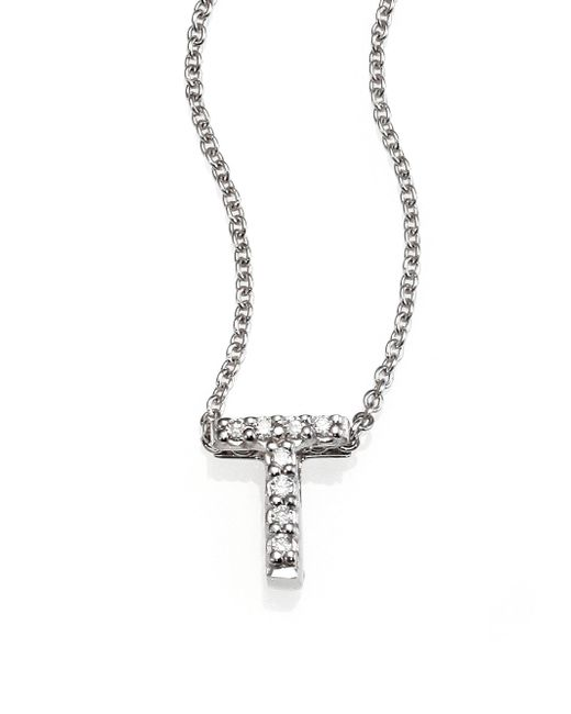 Roberto Coin | Tiny Treasures Diamond & 18k White Gold Love Letter Pendant Necklace | Lyst