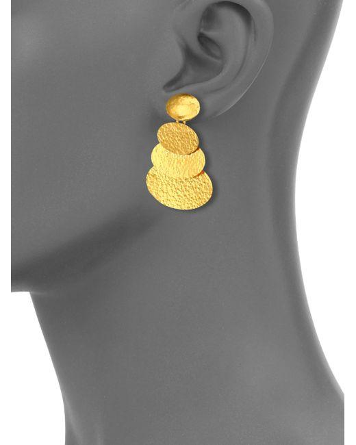 Gurhan   Metallic Mango 24k Yellow Gold Layered Drop Earrings   Lyst