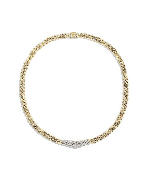 David Yurman | Metallic Petite Pave Necklace In 18k Gold | Lyst