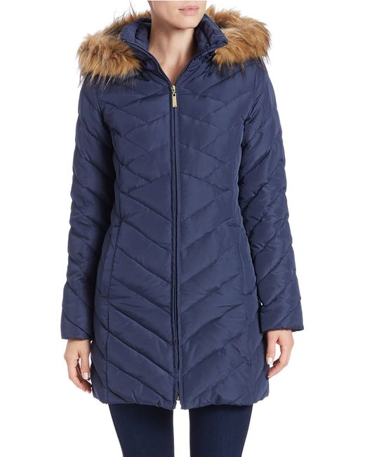 Ellen Tracy | Blue Faux Fur-trimmed Quilted Coat | Lyst
