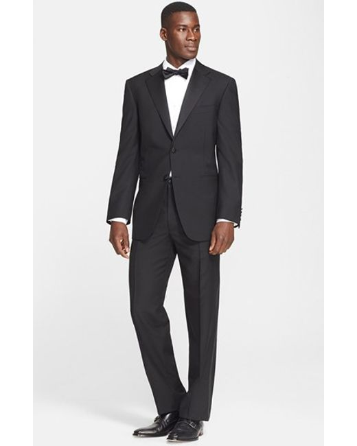 Canali 13000 Classic Fit Wool Mohair Tuxedo In Black For