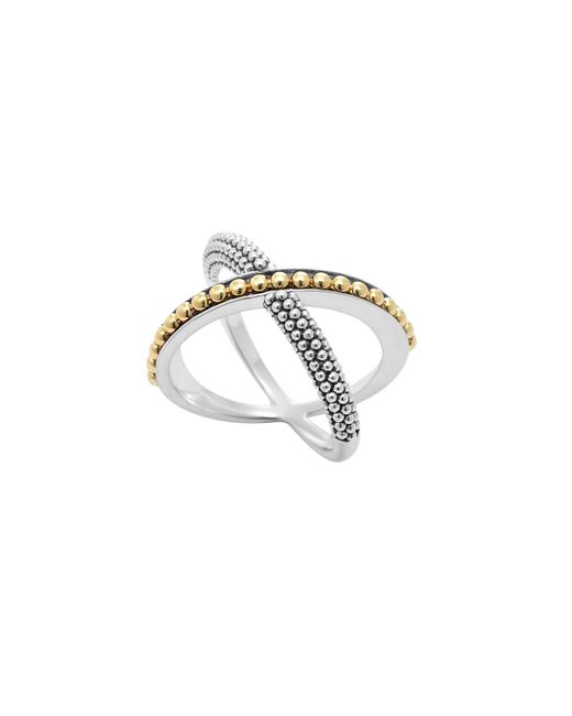 lagos sterling silver 18k enso crossover ring in silver