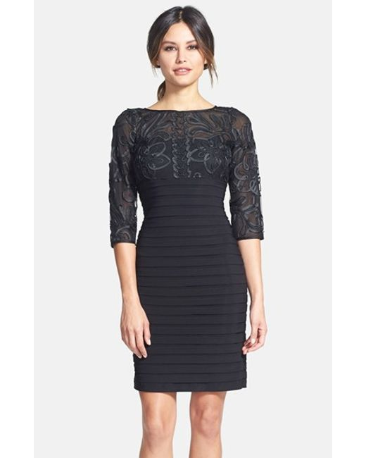 Adrianna Papell | Black Soutache Shutter Pleat Sheath Dress | Lyst