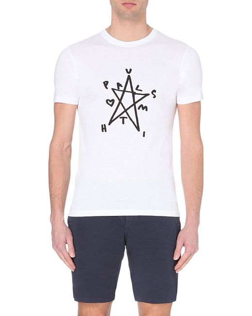Paul Smith | White Star-print Cotton T-shirt for Men | Lyst