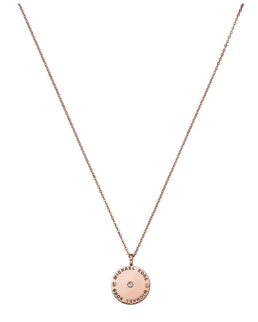 Michael Kors | Pink Heritage Rose Gold Pendant Necklace | Lyst