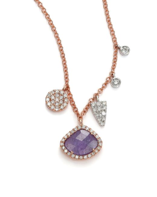 Meira T | Purple Tanzanite, Mother-of-pearl, Diamond & 14k Rose Gold Doublet Pendant Necklace | Lyst
