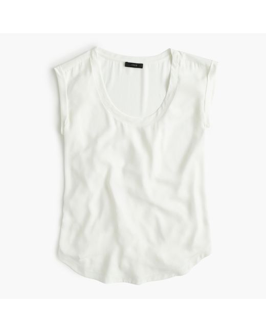 J.Crew   White Polished Scoopneck Top   Lyst