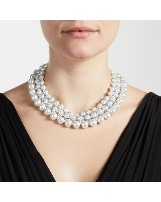 John Lewis | White Graduating Faux Pearl Collar Necklace | Lyst