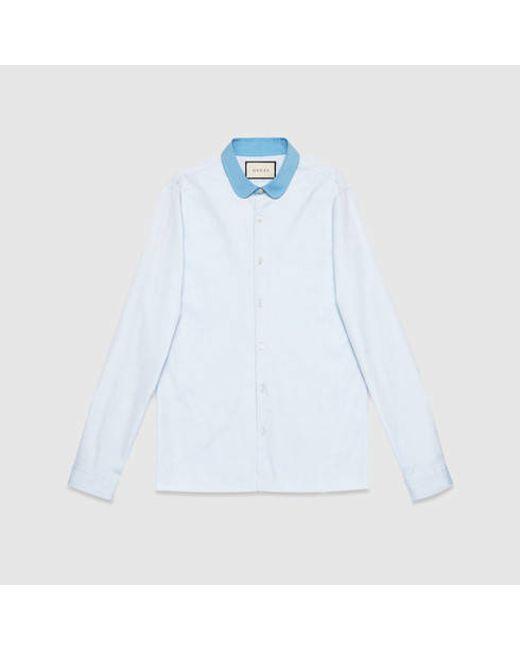 Gucci   Blue Round Collar Cambridge Oxford Shirt for Men   Lyst