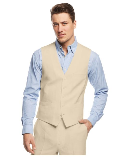 INC International Concepts | Natural Men's Smith Linen-blend Vest for Men | Lyst