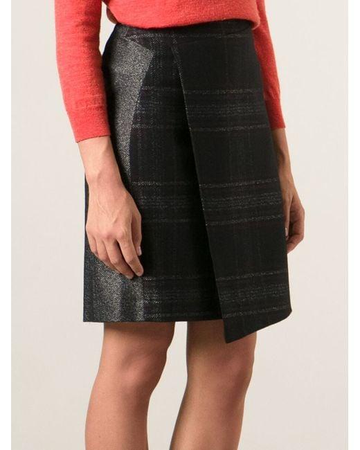 Paul smith Wrap Around Midi Skirt in Gray   Lyst