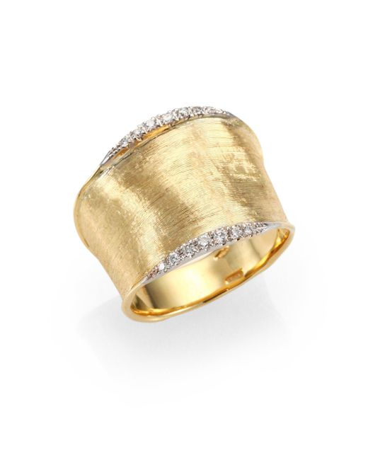 Marco Bicego | Metallic Lunaria Diamond & 18k Yellow Gold Band Ring | Lyst