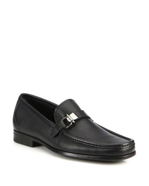 Ferragamo | Black Muller Bit Leather Loafers for Men | Lyst