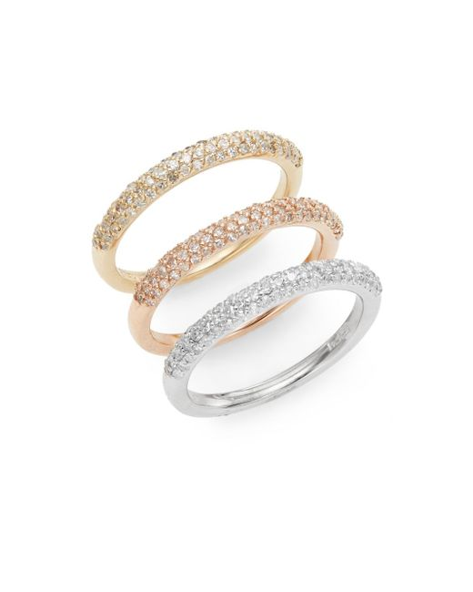 Effy | Metallic Final Call 0.98 Tcw Diamond, 14k Yellow, Rose & White Gold Band Ring Set | Lyst