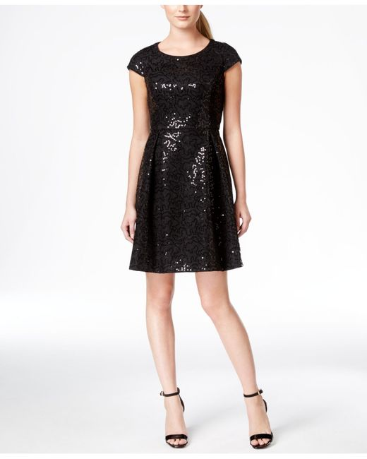 Calvin Klein Sequin Cap Sleeve Fit And Flare Dress In