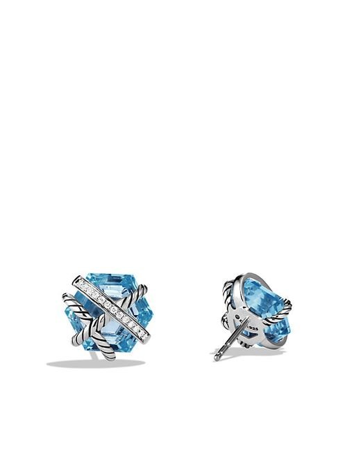 David Yurman | Cable Wrap Earrings With Blue Topaz And Diamonds, 10mm | Lyst