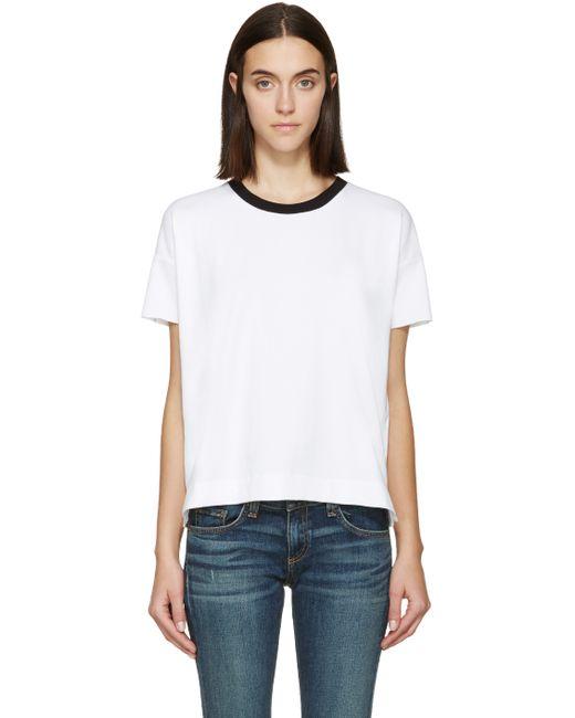 Rag Bone White And Black Charlee Ringer T Shirt In White