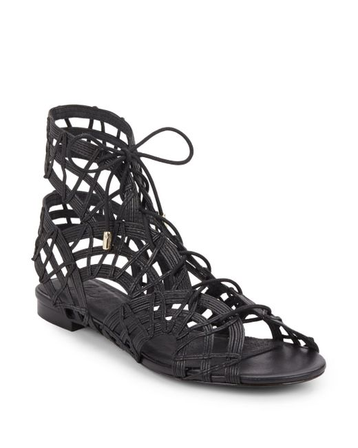 Joie | Black Renee Caged Leather Gladiator Sandals | Lyst