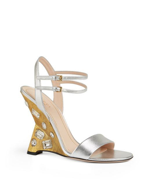 gucci engel jeweled leather wedge sandals in silver save