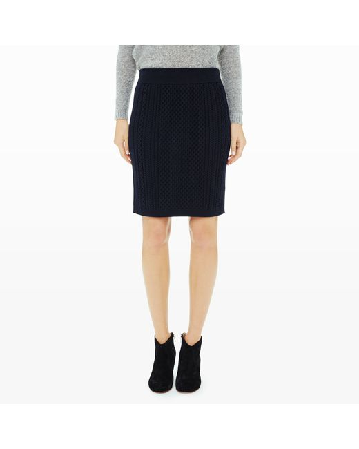 Club Monaco | Blue Sillette Cable Sweater Skirt | Lyst