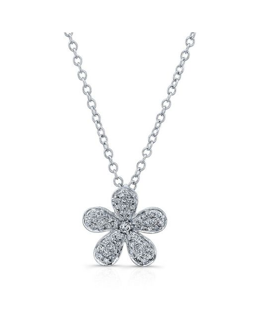 Anne Sisteron | Metallic 14kt White Gold Diamond Flower Necklace | Lyst