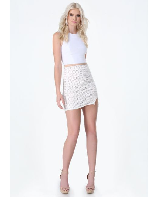 bebe perforated faux suede skirt in white bright white