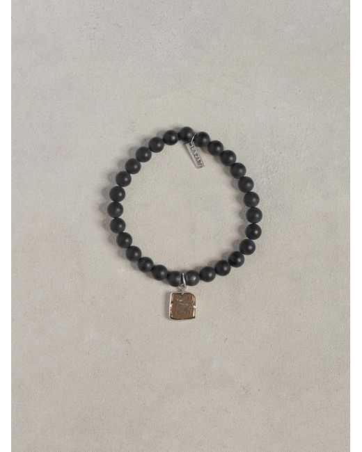 John Varvatos | Black Onyx Bead Coin Bracelet for Men | Lyst