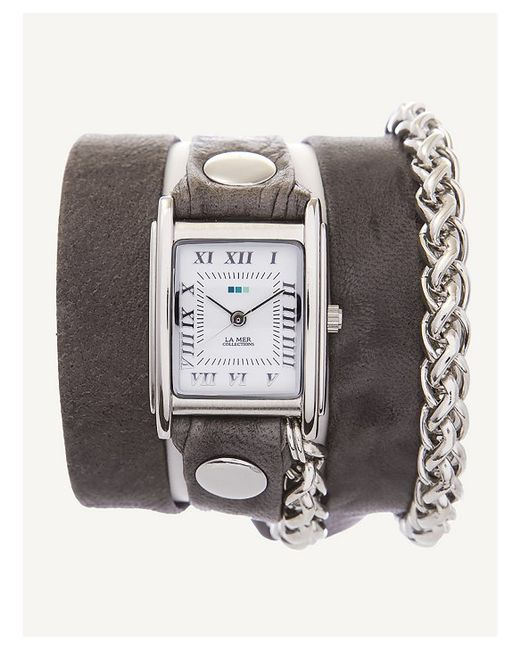 La Mer Collections Grey Washed Silver Motor Wrap Watch In
