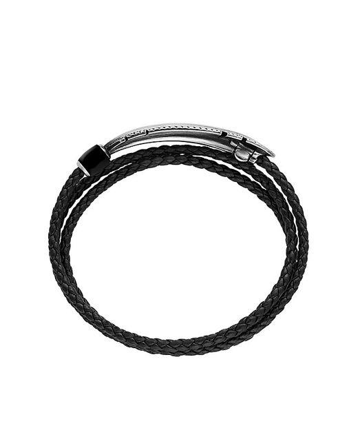 David Yurman | Feather Triple-wrap Bracelet In Black Leather With Black Onyx for Men | Lyst