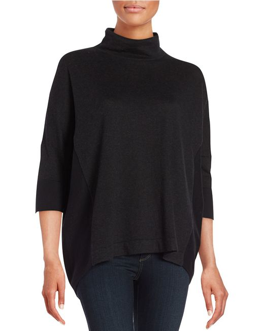 T Tahari | Gray Mock Neck Hi-lo Sweater | Lyst