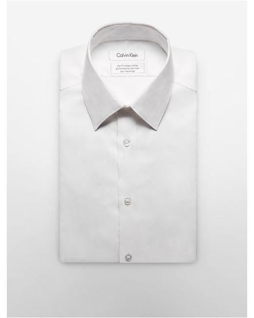 Calvin klein steel slim fit non iron solid herringbone for White herringbone dress shirt