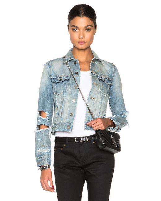 Saint Laurent | Blue Oversize Shredded Denim Jacket | Lyst