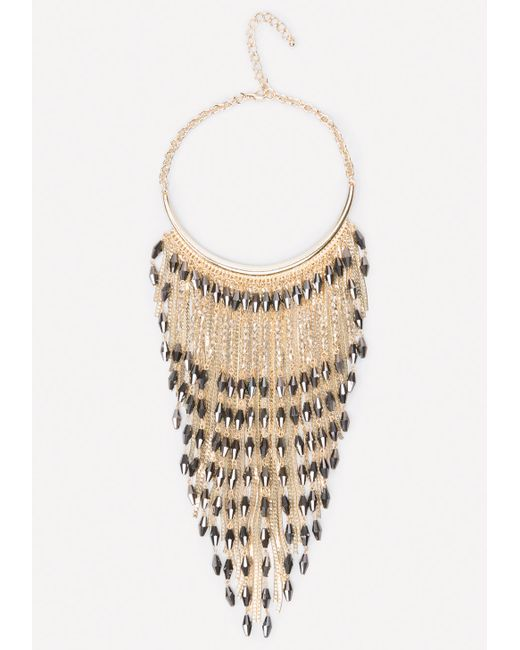 Bebe | Metallic Bead & Snake Chain Necklace | Lyst