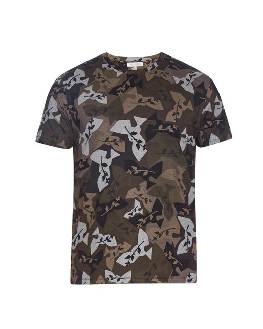 Valentino Camouflage Print T Shirt In Red For Men Grey