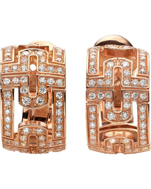 BVLGARI | Parentesi 18ct Pink-gold And Diamond Stud Earrings | Lyst