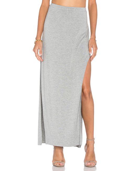 luxx side split maxi skirt in gray lyst