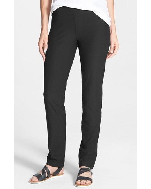 Eileen Fisher | Black Straight Yoke Slim Crepe Knit Pants | Lyst